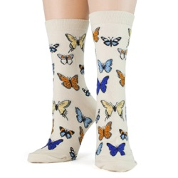 women's butterflies socks front view on mannequin