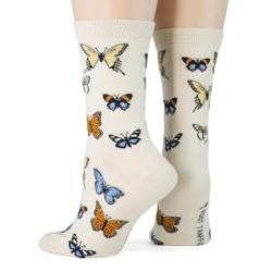 women's butterflies socks sideback view on mannequin