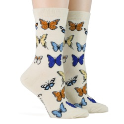 women's butterflies socks sidefront view on mannequin