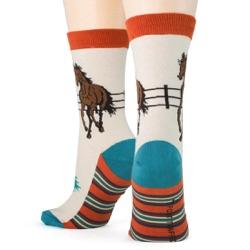 women's southwest horse socks back view on mannequin