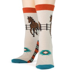 women's southwest horse socks front view on mannequin