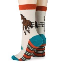 women's southwest horse socks sideback view on mannequin