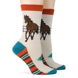 women's southwest horse socks sidefront view on mannequin