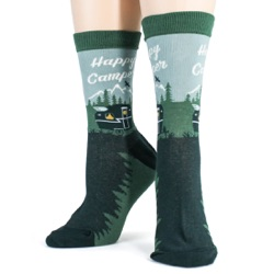 womens happy camper camping in the woods and mountains socks front view on mannequin