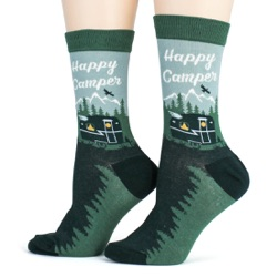 womens happy camper camping in the woods and mountains socks other side view on mannequin