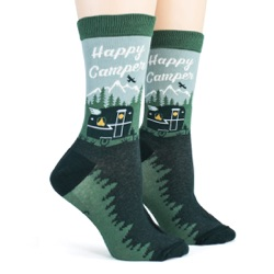 womens happy camper camping in the woods and mountains socks sidefront view on mannequin