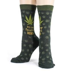 women's favorite herb marijuana funny socks front view on mannequin