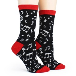 women's dancing notes music socks sidefront view on mannequin
