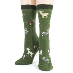 women's goats animal socks front view on mannequin