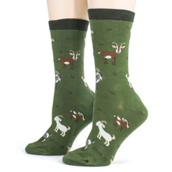 women's goats animal socks side view on mannequin