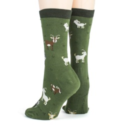 women's goats animal socks sideback view on mannequin