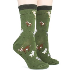 women's goats animal socks sidefront view on mannequin
