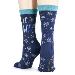 women's let it snow anywhere but here snowflakes winter holiday socks back view on mannequin
