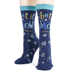 women's let it snow anywhere but here snowflakes winter holiday socks front view on mannequin