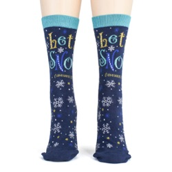 women's let it snow anywhere but here snowflakes winter holiday socks frontal view on mannequin