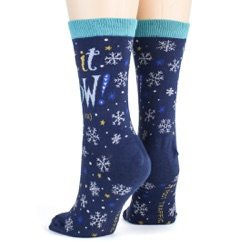 women's let it snow anywhere but here snowflakes winter holiday socks sideback view on mannequin