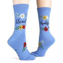 women's blessed and thankful flowers socks side views on mannequin