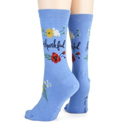 women's thankful flowers socks side view on mannequin