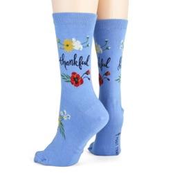 women's thankful flowers socks side view on mannequin