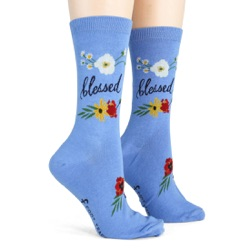 women's blessed flowers socks side view on mannequin