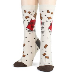 women's chocolate makes everything better candy socks front view on mannequin