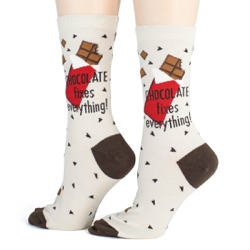 women's chocolate makes everything better candy socks side view on mannequin