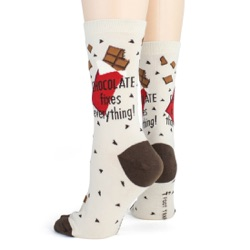 women's chocolate makes everything better candy socks sideback view on mannequin