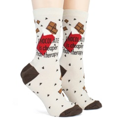 women's chocolate is cheaper than therapy candy socks side view on mannequin