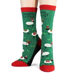women's sheep bah humbug holiday socks front view on mannequin