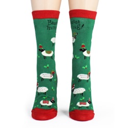 women's sheep bah humbug holiday socks frontal view on mannequin