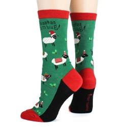 women's sheep bah humbug holiday socks sideback view on mannequin