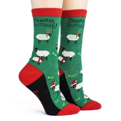 women's sheep bah humbug holiday socks side view on mannequin