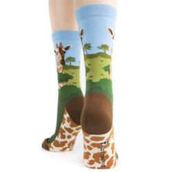 back view of giraffe socks