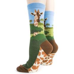 sideback view of giraffe socks