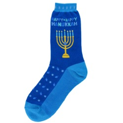women's happy hanukkah with menorah socks
