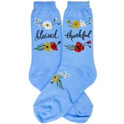 women's blessed and thankful flowers socks
