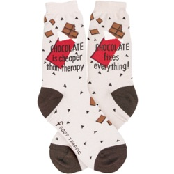 women's chocolate is cheaper than therapy and makes everything better candy socks