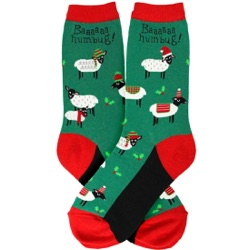 women's sheep bah humbug holiday socks