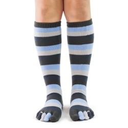 denim toe socks full front view on model