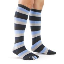denim toe socks side view on model