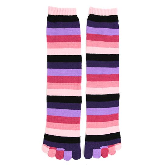Pink Rainbow Stripe Toe Socks