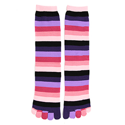 Pink Rainbow Stripe Toe Socks