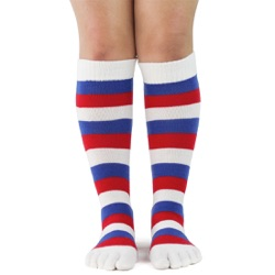 Red, White & Blue Toe Socks