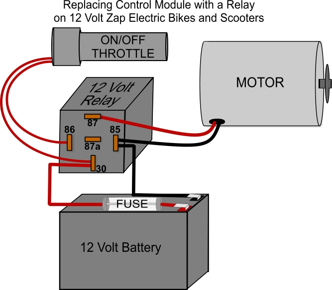 on a zap bike how do i convert a control module to a relay. Black Bedroom Furniture Sets. Home Design Ideas