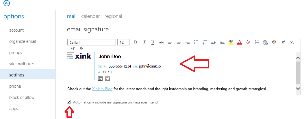 The default signature in Outlook on the web does not update : EmaiI