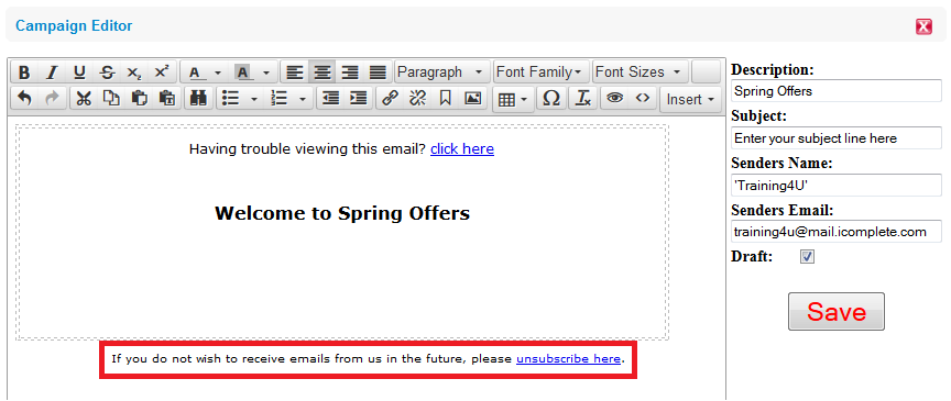 how does the unsubscribe of emails work in e marketing icomplete