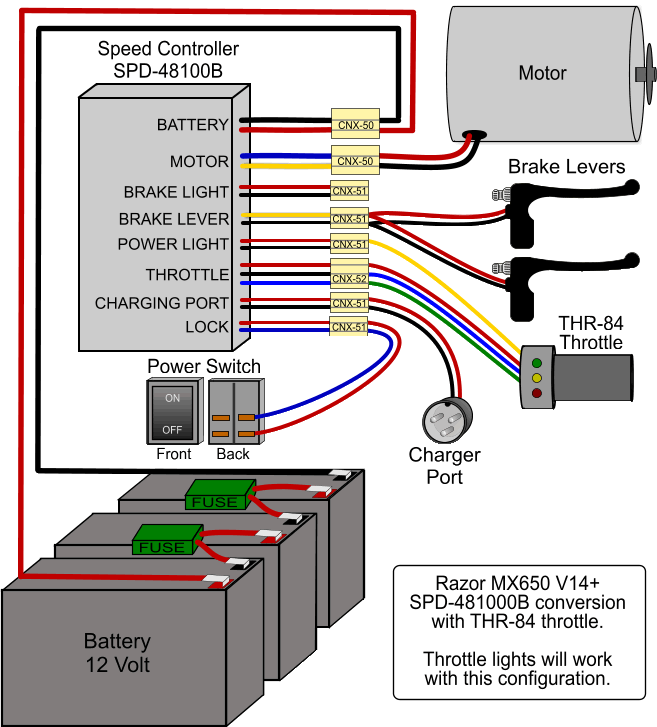 wiring upgraded controller for mx650 razor bike. Black Bedroom Furniture Sets. Home Design Ideas