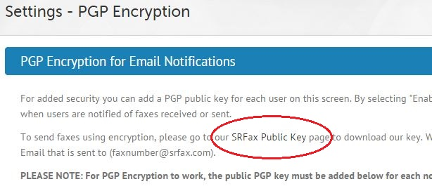 Settings - PGP Encryption : Support System