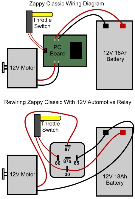 zappy classic electric scooter relay conversion
