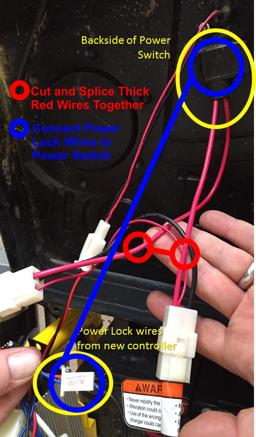wiring upgraded controller for mx razor bike the power lock connector wires should go directly to the power switch to turn the bike on and off